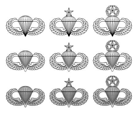 Parachutist Badge - Jump Wings - Vector is an illustration that includes the basic, senior and master parachutist insignia in three styles. These are also known as Jump wings or Silver Wings.