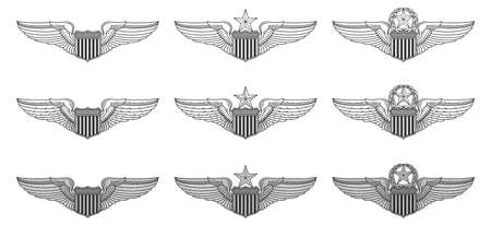 U.S. Air Force Pilot Wings- Vector Pilot Badge Insignia is an illustration that includes the basic, senior and master Air Force pilot wings insignia in three styles from simple to complex. Ilustração