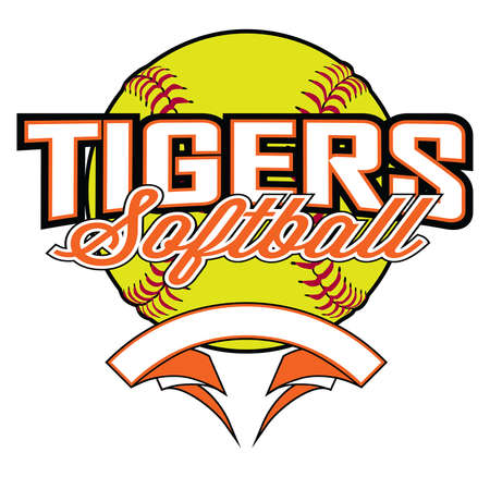 Tigers Softball Design With Banner and Ball is a team design template that includes a softball graphic, overlaying text and a blank banner with space for your own information. Great for advertising an