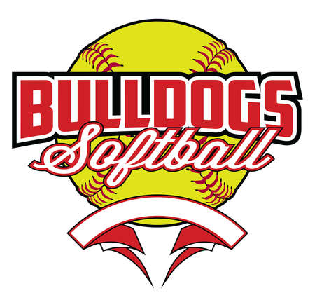 Bulldogs Softball Design With Banner and Ball is a team design template that includes a softball graphic, overlaying text and a blank banner with space for your own information. Great for advertising