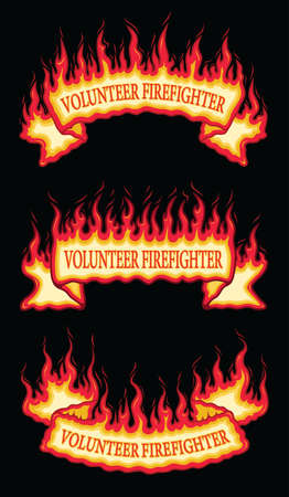 Volunteer Firefighter Fire Flame Scroll Banners is an illustration of three flaming scroll banners with volunteer firefighter text. Includes a top arched, a straight and a bottom arched banner. Иллюстрация