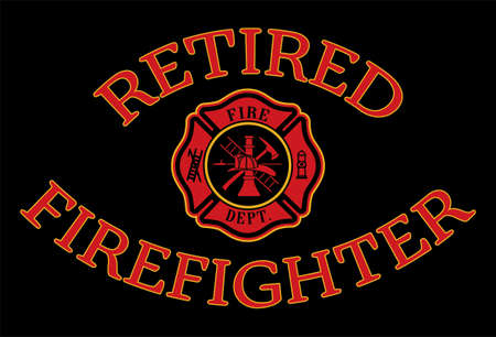 Retired Firefighter Design is a design illustration that includes a classic firefighter Maltese and Retired Firefighter text in red and gold on a black background. Great promotional graphic. Ilustración de vector
