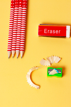 secretarial: a display of eraser pencils and sharpener