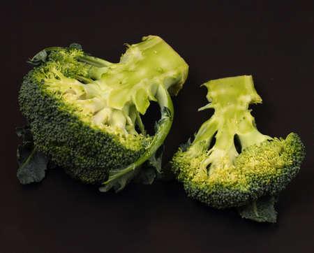 broccolli: broccolli on a black background Stock Photo