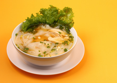 beansprouts: Glass noodle soup with chicken and beansprouts on an orange background