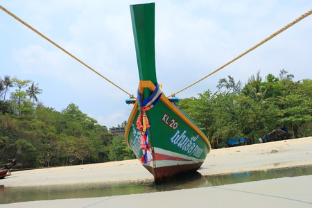 longtail: Longtail boat on the beach phuket thailand Stock Photo
