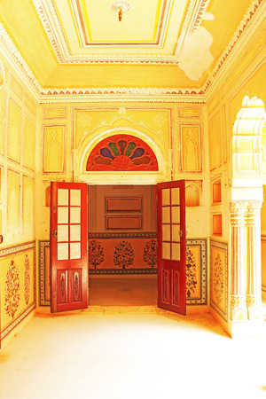 haunting: palace interior in this fairy tale like fort was built in 1734 by Maharaja Sawai Jai Singh II. The construction of the fort was halted numerous times due to a haunting by the ghost of Nahar Singh Bhomia. The ghost and haunting stopped after the spirit was