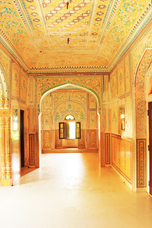 fastness: palace interior in this fairy tale like fort was built in 1734 by Maharaja Sawai Jai Singh II. The construction of the fort was halted numerous times due to a haunting by the ghost of Nahar Singh Bhomia. The ghost and haunting stopped after the spirit was