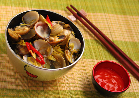 place mat: herbal clam soup Vietnam style served on a place mat