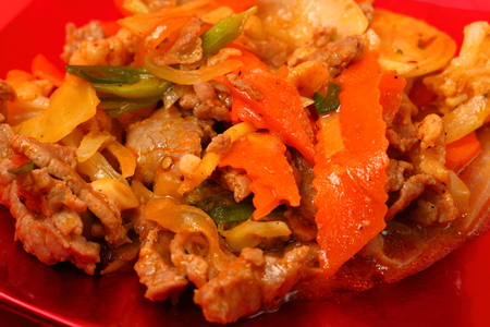 stir up: beef stir fry with ginger close up