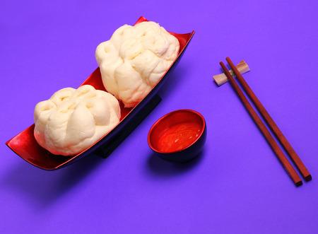 bao: banh bao pork bun Vietnam style on a purple background