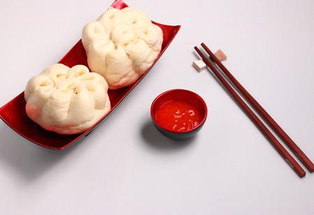 bao: banh bao pork bun Vietnam style on a white background