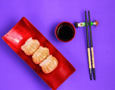 jhy: Vietnam style steamed shrimp dumplings served on a purple background