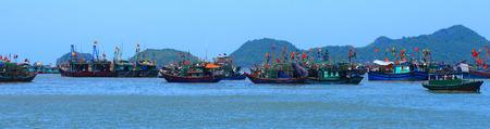 ba: a view of cat ba fishing harbor Stock Photo