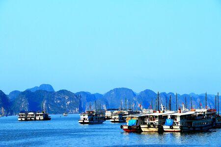 ha: a view of ha long city fishing harbour Stock Photo