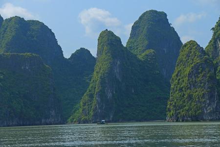 ba: ha long bay cat ba islands and rock formations vietnam