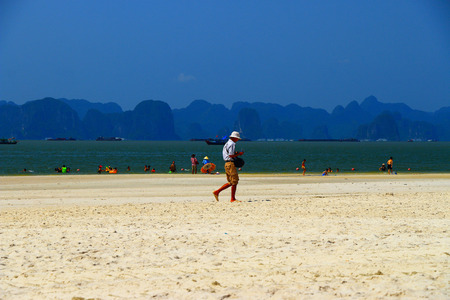 long bay: a view of ha long bay beach Vietnam