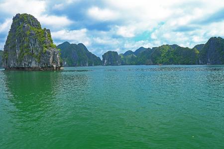 ba: ha long bay cat ba islands and rock formations Stock Photo