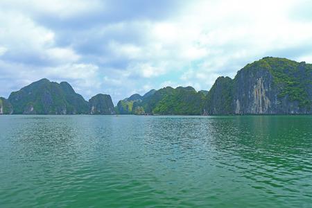 long bay: ha long bay cat ba islands and rock formations Stock Photo