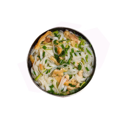 chicken noodle soup: Isolated Hanoi pho chicken noodle soup