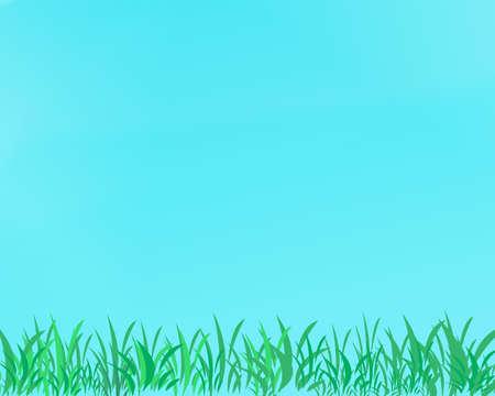 Springtime Groen Gras en Blauwe Hemel Achtergrond