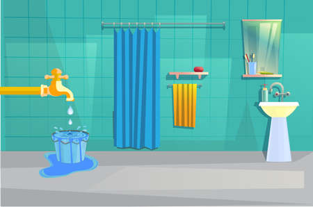 vector illustration of bathroom interior with water over flowing theme Çizim