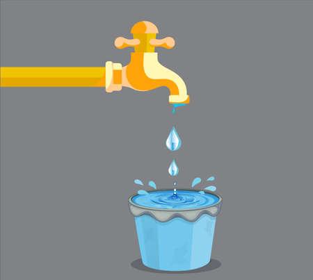 Vektor-Illustration von Wasser, das den Eimer gießt und außerhalb des Eimers fällt Vektorgrafik