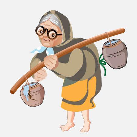 Old wamen carrying water. Old women caring water pot on her solder vector illustration Ilustração