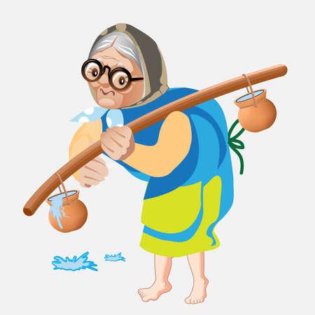 Old lady carrying water. Old women caring water pot on her solder vector illustration Ilustração