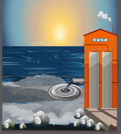 water pollution from industry Vector illustration