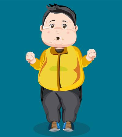 vector illustration of fat man