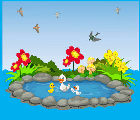 Water theme with duck and birds with flower garden of forest vector illustration.