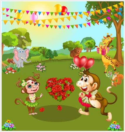 Canción de amor. aniversario de matrimonio celebrado por animales en la ilustración de vector de bosque.
