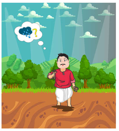 Farmer sadly wearing for rain as farmer can't start farming without water. character design of farmer thinking about rain for farming. Landscape design of crops farming vector illustration.