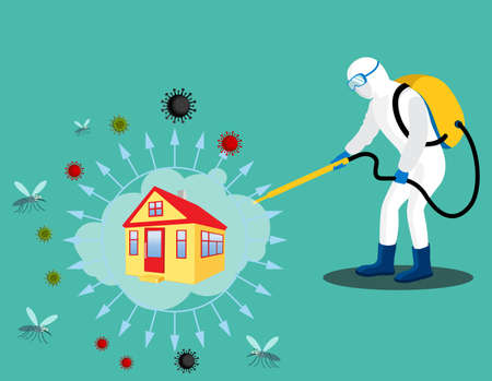 Sanitizing & Disinfectant an office for covid-19 virus corona virus and insects. Human corrector of doing pest control at offices and home.  Sanitize office and home vector illustration.