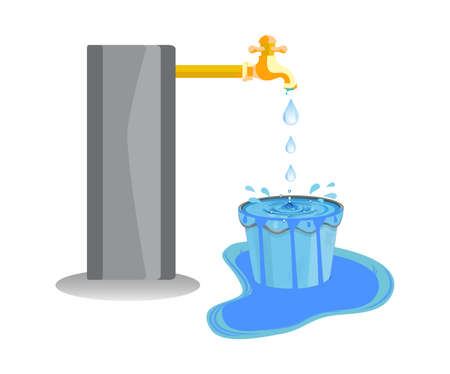 Wastage of water theme. Wastage of water from running tap as bucket is overflow with the water. Wastage of water drop from overflowing bucket and spreading on the floor. Ilustración de vector
