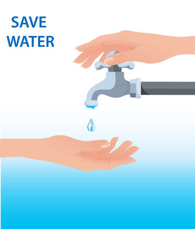Hand open for drinking tap water. Drink a falling drop. Liquid in the palm. Vector illustration flat design. Turn on and turn off faucet. Saving water.Water shortage concept.