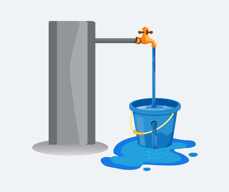 Water waste from running tap. Wastage of water theme for save water. Spread water on floor from hole bucket. Vector Illustration