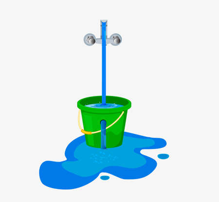 Water waste from running tap. Wastage of water theme for save water. Spread water on floor from hole bucket.