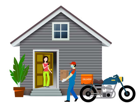 Home delivery services. Online delivery concept of buying grocery, food, medicine essential items to the doorstep. Delivery boy wearing face mask and deliver product to home and office in lockdown.