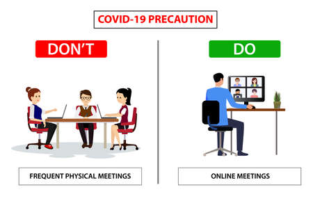 Do and don't poster for covid 19 corona virus. Safety instruction for office employees and staff. Vector illustration of avoid group meeting and start online meeting like zoom call.