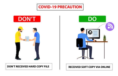Do and don't poster for covid 19 corona virus. Safety instruction for office employees and staff. Vector illustration of don't received hard copy from vendor and share soft copy with online. Ilustrace
