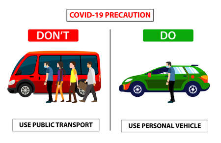 Do and don't poster for covid 19 corona virus. Safety instruction for office employees and staff. Awareness poster for public transport or privet transport. Employees travel safety manners.