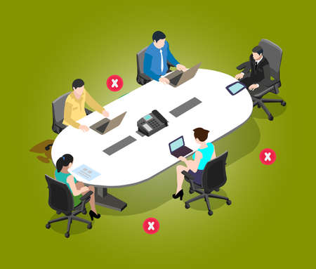 Maintain social distance in meeting room to protect from covid 19 virus. Employees are working together in a meeting room and follow the safety distance of corona virus disease.
