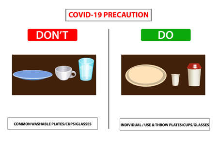 Do and don't poster for covid 19 corona virus. Safety instruction for office employees and staff. Vector illustration of how properly use cup plate and glass  at office.  Washable cup or paper cup. Ilustração