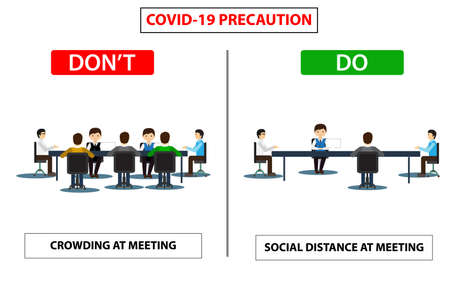 Do and don't poster for covid 19 corona virus. Safety instruction for office employees and staff. Victor illustration of maintain social distance in meeting room for covid 19 disease. Фото со стока - 145993483