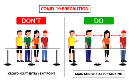 Do and don't poster for covid 19 corona virus. Safety instruction for office employees and staff. Vector illustration of crowing at entry exit point or maintain social distance from people.
