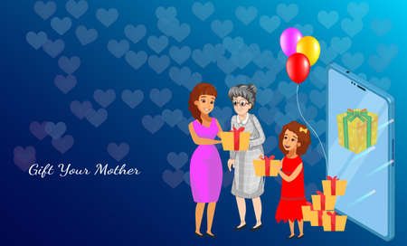 Gift your mother on mothers day. Online buy gift on mobile phone app. Business advertisement for buy products using mobile application with online technology. Happy mothers day concept.