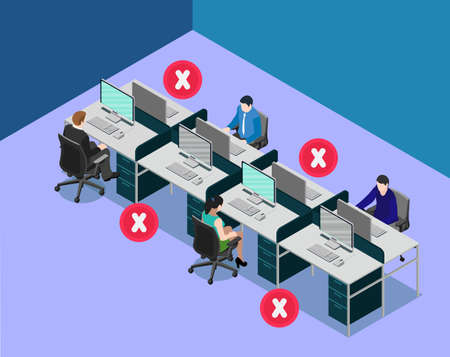 Social distancing at office workstation. Employees are maintain distance during work at workstation. Safety awareness of covid-19 virus. Vector illustration of people are working on a desk.