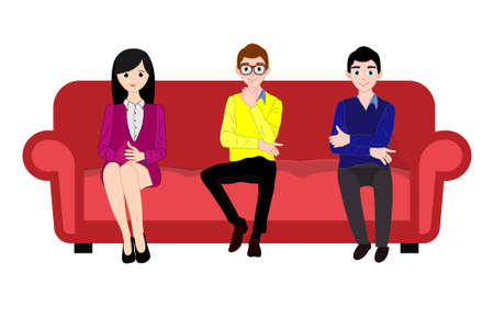 People character with sofa. People are setting on a red sofa vector illustration. Illusztráció